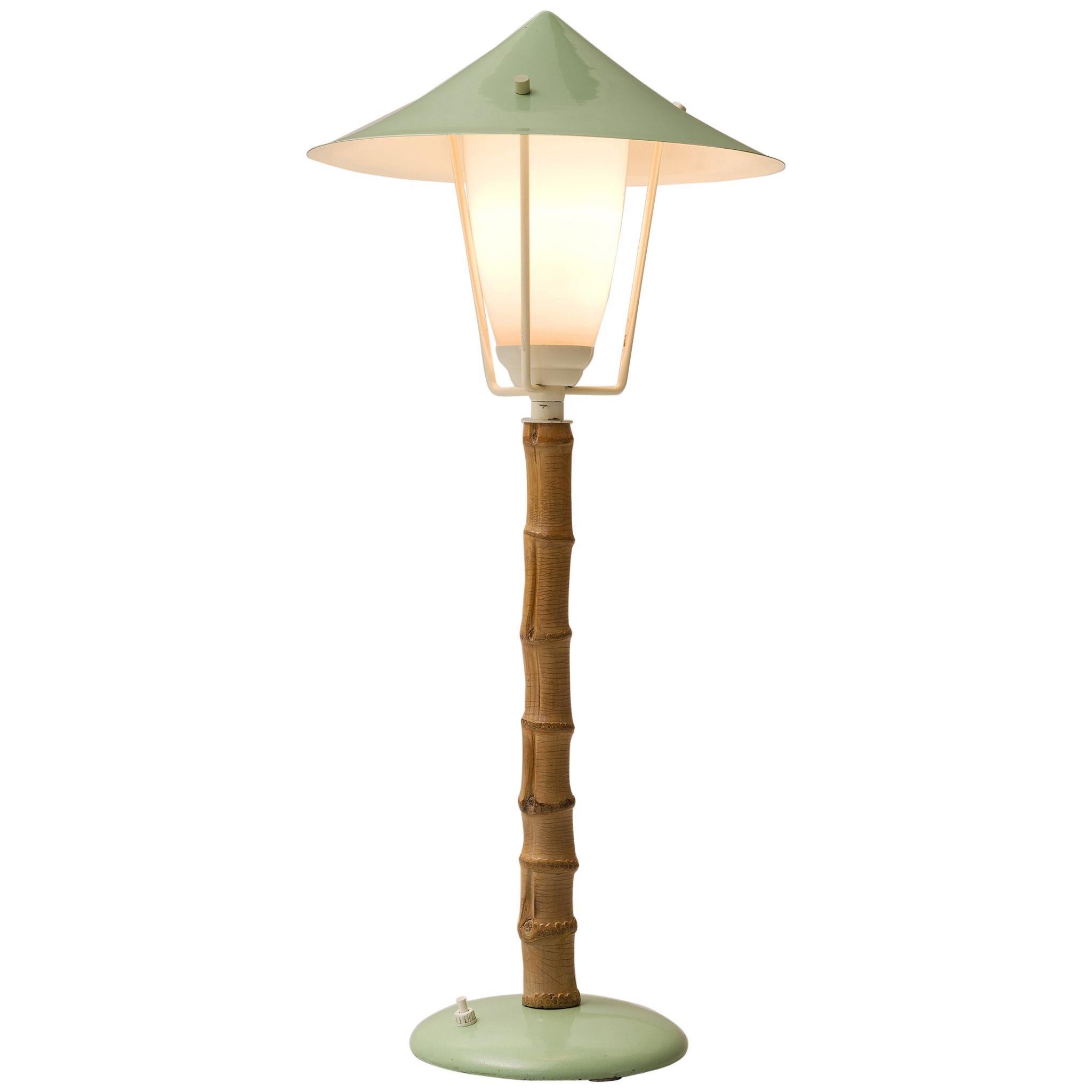 J.T. Kalmar 'Karla' Bamboo Green Table Lamp