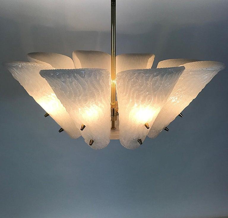 Austrian J.T. Kalmar Mid-Century Modern Milk Glass Leaf Chandelier, Austria, 1950s For Sale
