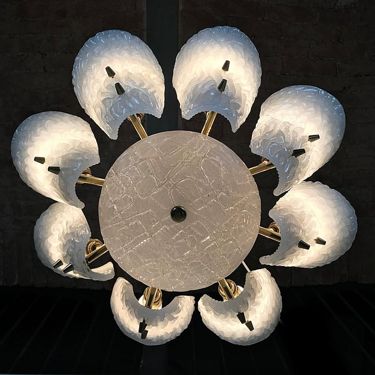 Brass J.T. Kalmar Mid-Century Modern Milk Glass Leaf Chandelier, Austria, 1950s For Sale