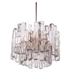 J.T. Kalmar Murano Ice Glass Chandelier Ceiling Lamp, Austria, 1960s