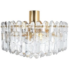 J.T. Kalmar Palazzo Flush Mount Chandelier Gold Brass Glass Lamp, Austria, 1960