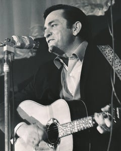 Johnny Cash Performing on Stage Fine Art Print