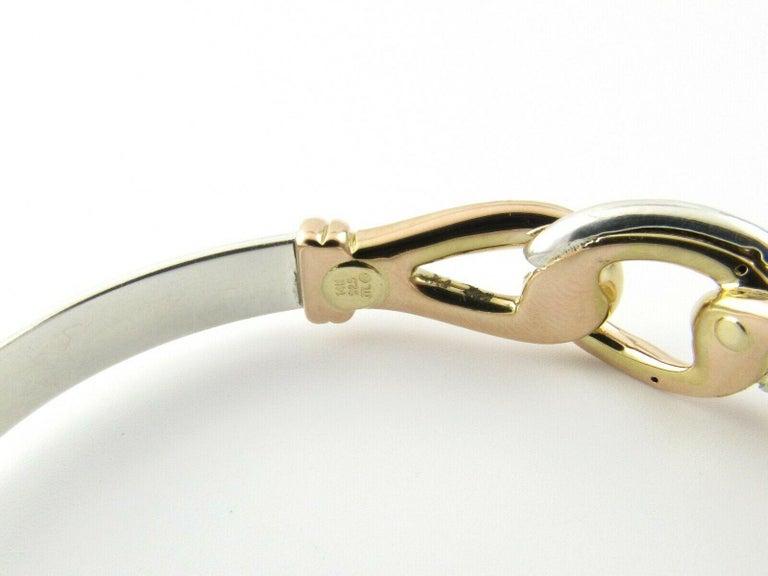 Women's JTL Isreal 14 Karat Rose Gold and Sterling Silver Bangle Diamond Bracelet For Sale