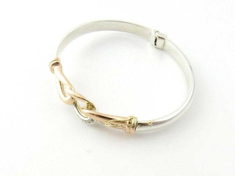 JTL Isreal 14 Karat Rose Gold and Sterling Silver Bangle Diamond Bracelet For Sale 1