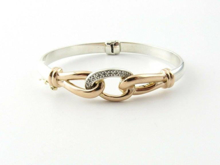 JTL Isreal 14 Karat Rose Gold and Sterling Silver Bangle Diamond Bracelet For Sale 2