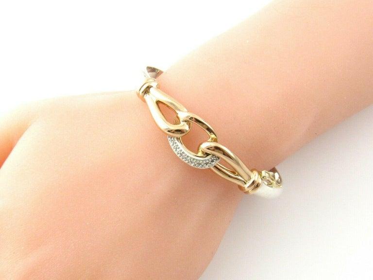 JTL Isreal 14 Karat Rose Gold and Sterling Silver Bangle Diamond Bracelet For Sale 3