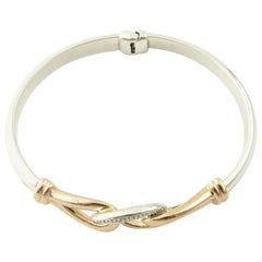 JTL Isreal 14 Karat Rose Gold and Sterling Silver Bangle Diamond Bracelet