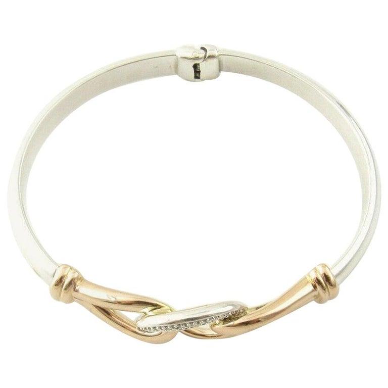 JTL Isreal 14 Karat Rose Gold and Sterling Silver Bangle Diamond Bracelet For Sale