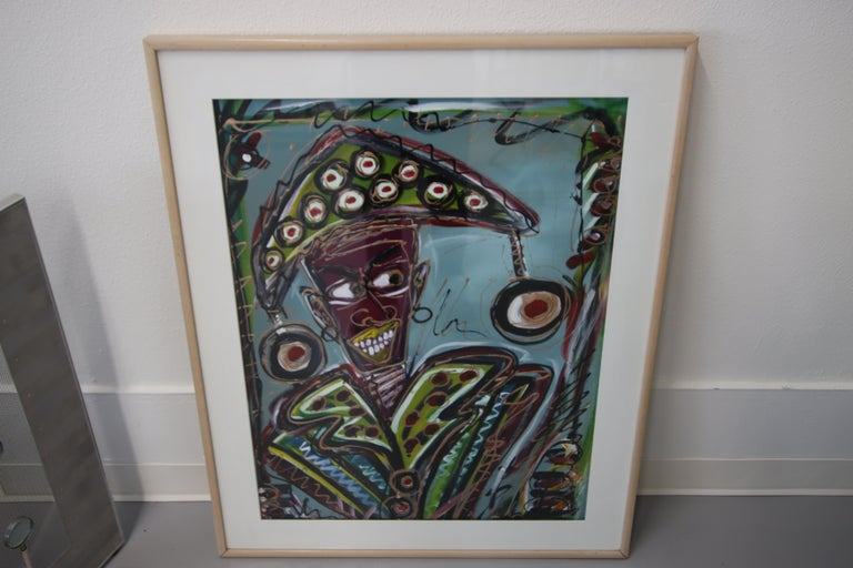 A great painting of a jester signed Juan Alonso 1992. It is titled verso