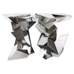 Juan and Paloma Garrido Console, 2015, Spain Silver Plated Brass and Later Nicke