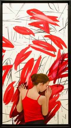 """""""Red Echoes"""" mixed media painting by Spanish artist Juan Cossio 56"""" x 30"""""""