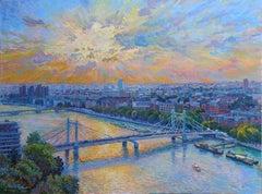 Albert Bridge Chelsea - original city painting Contemporary art 21st Century