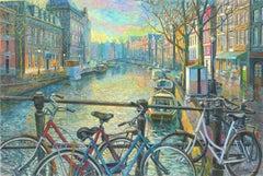 Amsterdam Canal - original city landscape painting contemporary art 21st century