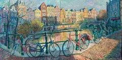 Amsterdam NETHERLANDS original cityscape painting  Art Impressionism 21st