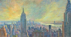 Birds Eya New York Panorama  Diptych original city landscape  painting