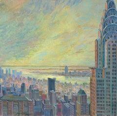 Birds Eye New York Panorama II original city landscape painting