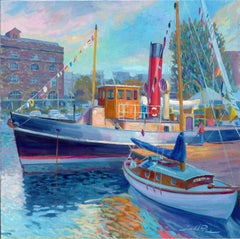 Boats at Portway landscape Contemporary oil painting