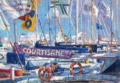 Boats at the Harbour - original oil painting contemporary modern art 21st C