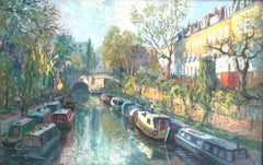 Boats on Regents Canal - landscape oil painting contemporary modern art