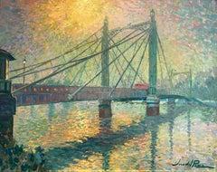 Bridge & Sun original city  landscape oil painting Contemporary Art 21st Century