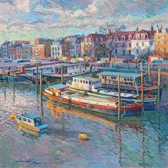 Chelsea Houseboats - original city painting Contemporary art 21st Century