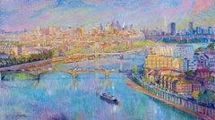 Chelsea, River Thames - original cityscape oil painting contemporary modern art