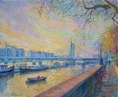 Chelsea Sunset - original cityscape London artwork contemporary Modern abstract