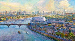 Chelsea Waterfront - cityscape England, London pointillism painting Contemporary