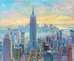 Empire State Building - original cityscape landscape oil artwork Contemporary