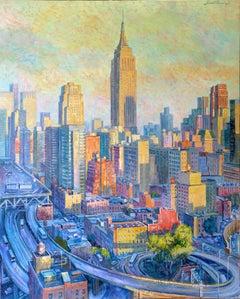 Empire State Colours-original city oil painting contemporary art 21st Century