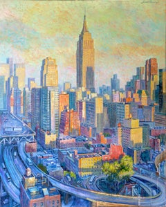 Empire State Colours-original cityscape oil painting contemporary 21st Century