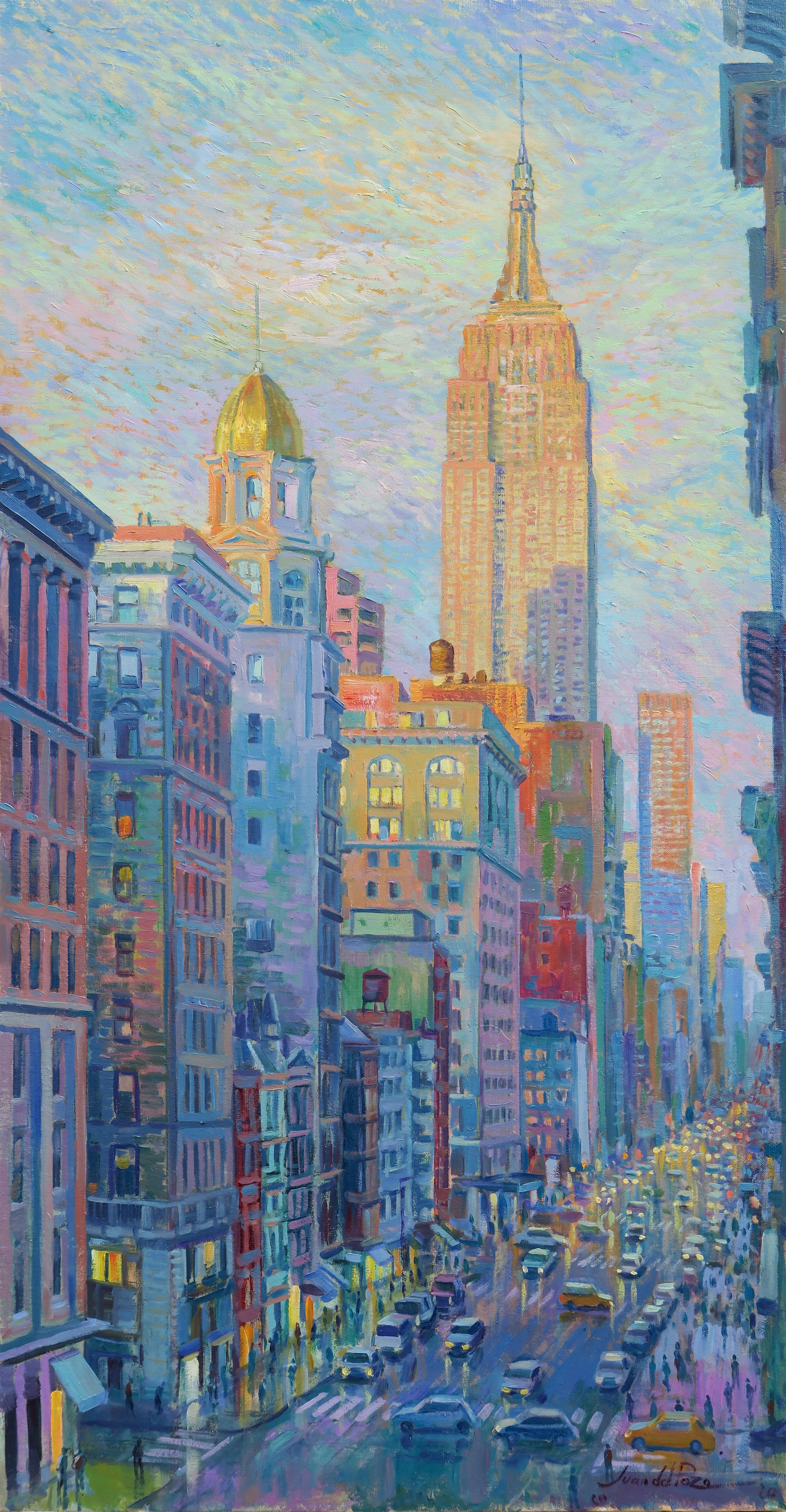 Empire State Street - original landscape colourful point artwork contemporary