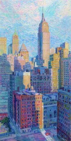 Golden Hour-original cityscape painting contemporary modern art 21st century