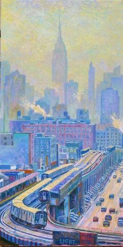 Golden Lights New York original city landscape painting Contemporary Art 21st