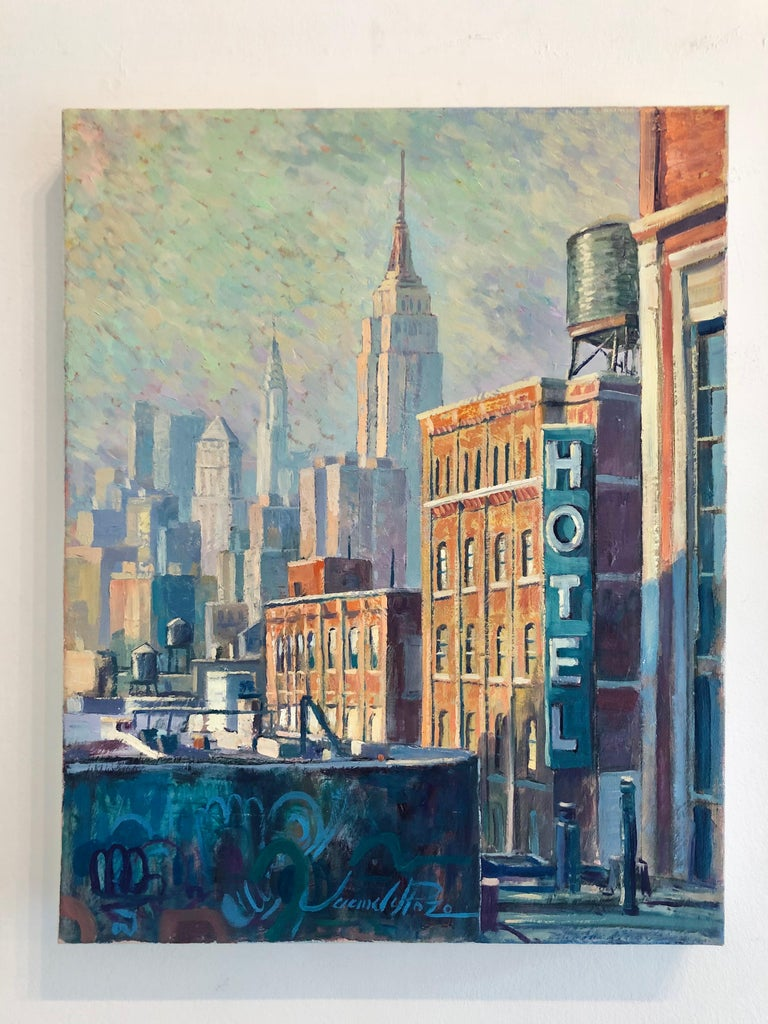Hotel Soho - original landscape city colourful surreal painting Contemporary  - Painting by Juan del Pozo