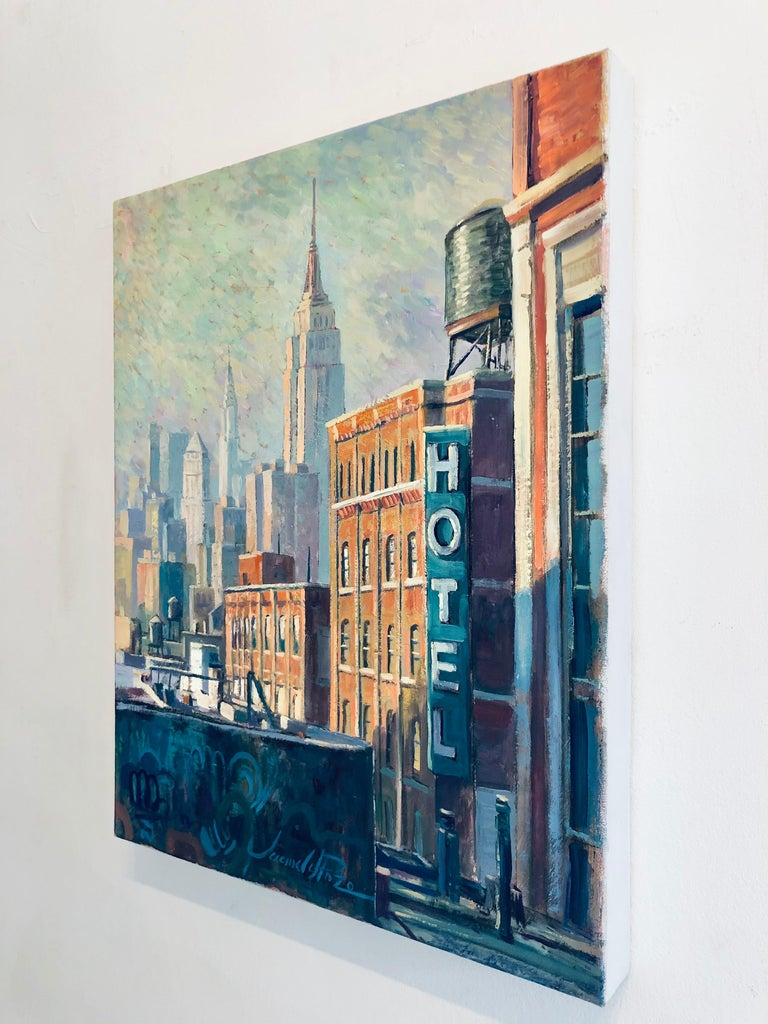 Hotel Soho - original landscape city colourful surreal painting Contemporary  - Impressionist Painting by Juan del Pozo