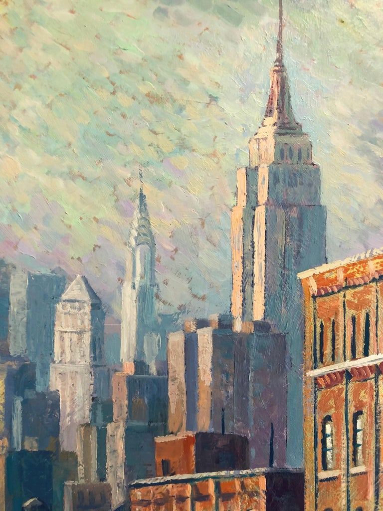 Hotel Soho - original landscape city colourful surreal painting Contemporary  - Brown Landscape Painting by Juan del Pozo