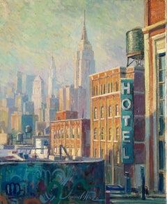 Hotel Soho - original landscape city colourful surreal painting Contemporary