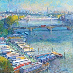 Living the Thames - original city painting Contemporary art 21st Century