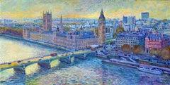 London Skyline II - City landscape pointalism England painting Contemporary