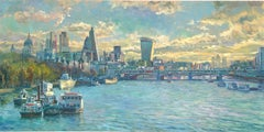London Skyline - original city Thames painting Contemporary art 21st Century