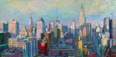 Manhattan Afternoon original New York cityscape Panorama painting