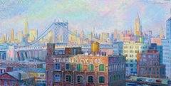 Manhattan Bridge, NYC - original cityscape sky painting contemporary modern art