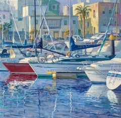 Marina Sailing II - original oil seascape boat painting Contemporary art