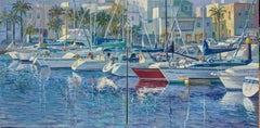 Marina Summer Sailing Diptych boats Contemporary Art 21st Century painting
