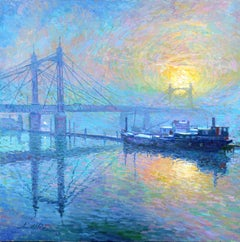 Mist on Albert Bridge - original city painting Contemporary art 21st Century