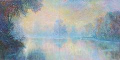 Misty River - diptych original landscape painting Contemporary art 21st Century
