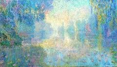 Misty River - lake landscape oil painting Contemporary art 21st Century