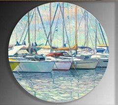 Mooring - original landscape harbour oil painting contemporary art harbour