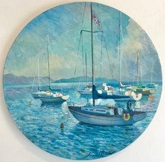 Moorings II - original landscape sea oil painting contemporary art